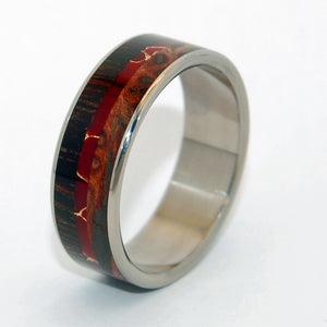 THE MAGIC BETWEEN | Wenge Wood & Redwood & Red Jasper Stone - Unique Wedding Rings - Minter and Richter Designs