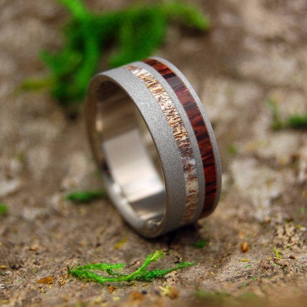 SPOTTED DEER | Deer Antler & Red Palm Wood Titanium Men's Wedding Rings - Minter and Richter Designs