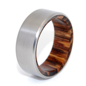 TALES OF EDEN | Red Palm Wood & Titanium - Unique Wedding Rings - Wedding Rings - Minter and Richter Designs