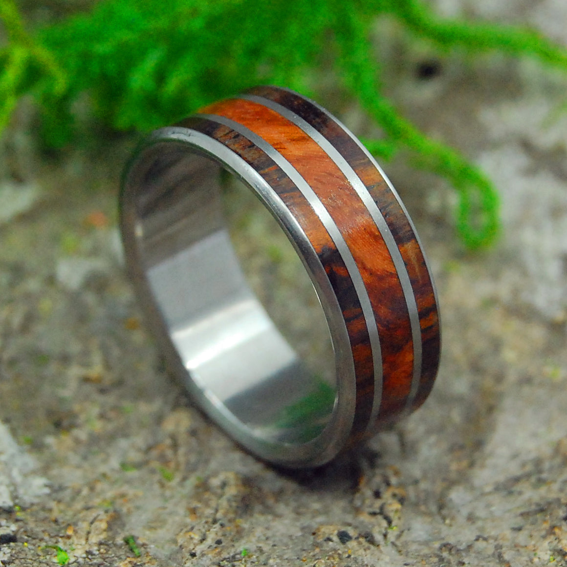 LOVE SQUARED REDWOOD | California Redwood & Cocobolo Wood Titanium Men's Wedding Rings - Minter and Richter Designs