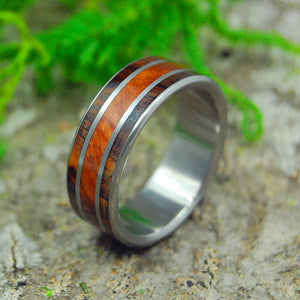 Handcrafted Wooden Wedding Ring - Titanium Ring | LOVE SQUARED REDWOOD