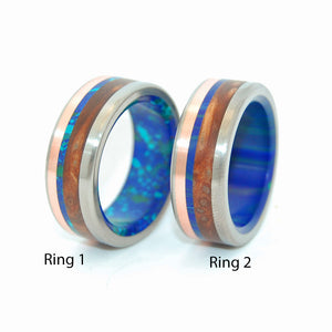 ARCTIC VIKING | Titanium & Copper & Stone Wedding Rings - Minter and Richter Designs