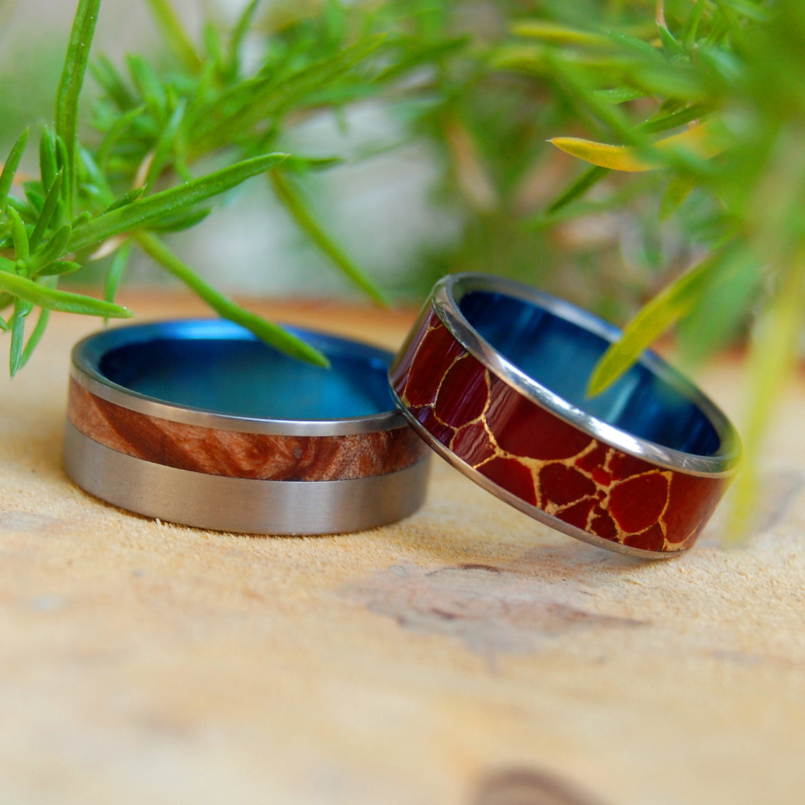 BLUE FAUN ENDURANCE | Red Jasper Stone, Wood & Titanium - Unique Wedding Rings - Women's Wedding Rings - Minter and Richter Designs