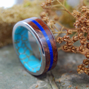 Mens Wedding Ring - Titanium Turquoise Ring | ETERNITY ARRIVES