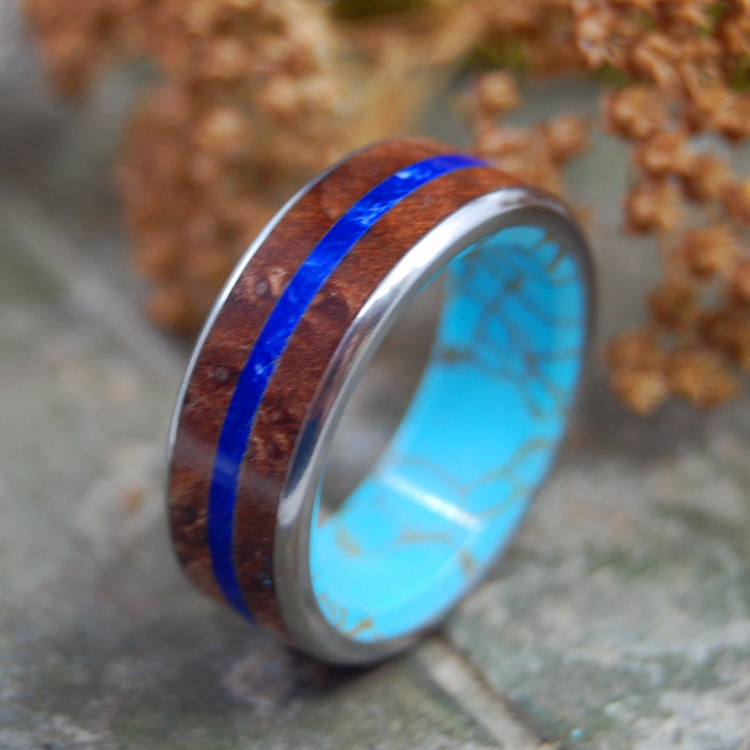 ETERNITY ARRIVES | Turquoise & Redwood Wedding Rings - Minter and Richter Designs