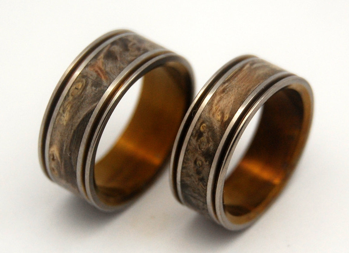 ALCHEMIST BRONZE | Box Elder Wood & Titanium Wedding Ring Set - Minter and Richter Designs