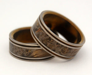 Alchemist Bronze | Hand Anodized Wooden Wedding Ring Set