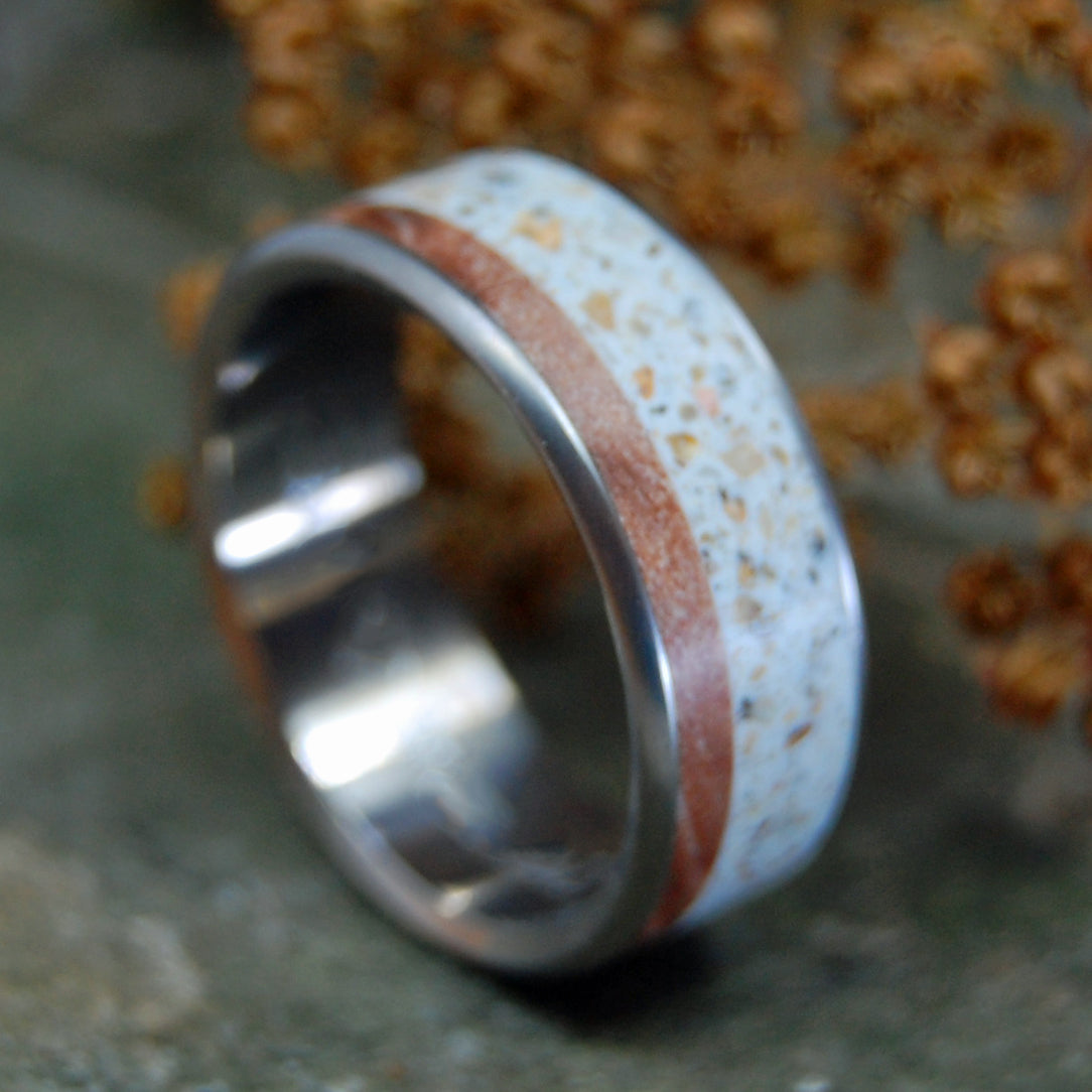 OUR RIVER | New Hampshire River Stone & Maple Titanium Wedding Ring - Minter and Richter Designs