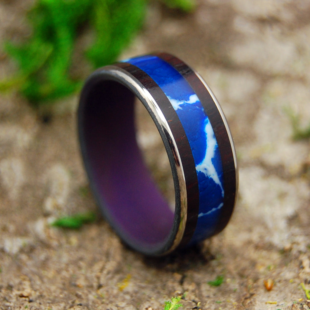 SEE ME COMING | Cobalt Stone & Rosewood Titanium Men's & Women's Wedding Rings - Minter and Richter Designs