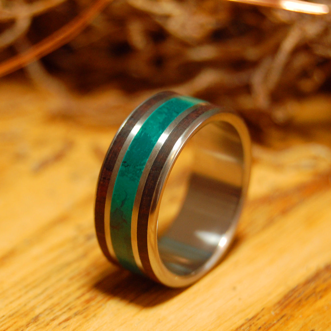 ROSEWOOD MORNING SONG | Jade and Rose Wood Titanium Wedding Rings - Minter and Richter Designs