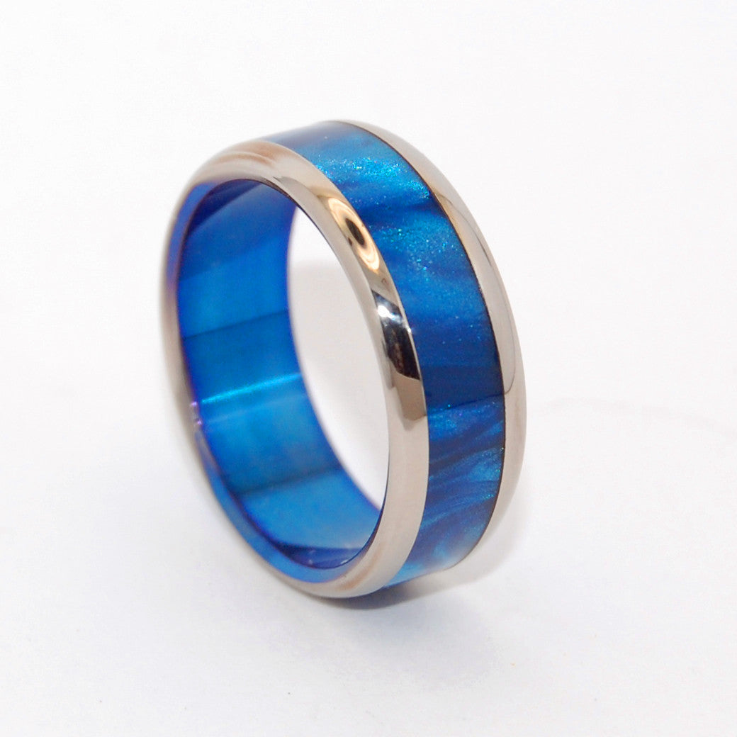 Rounded Bluebird | Blue and Titanium Wedding Band - Minter and Richter Designs