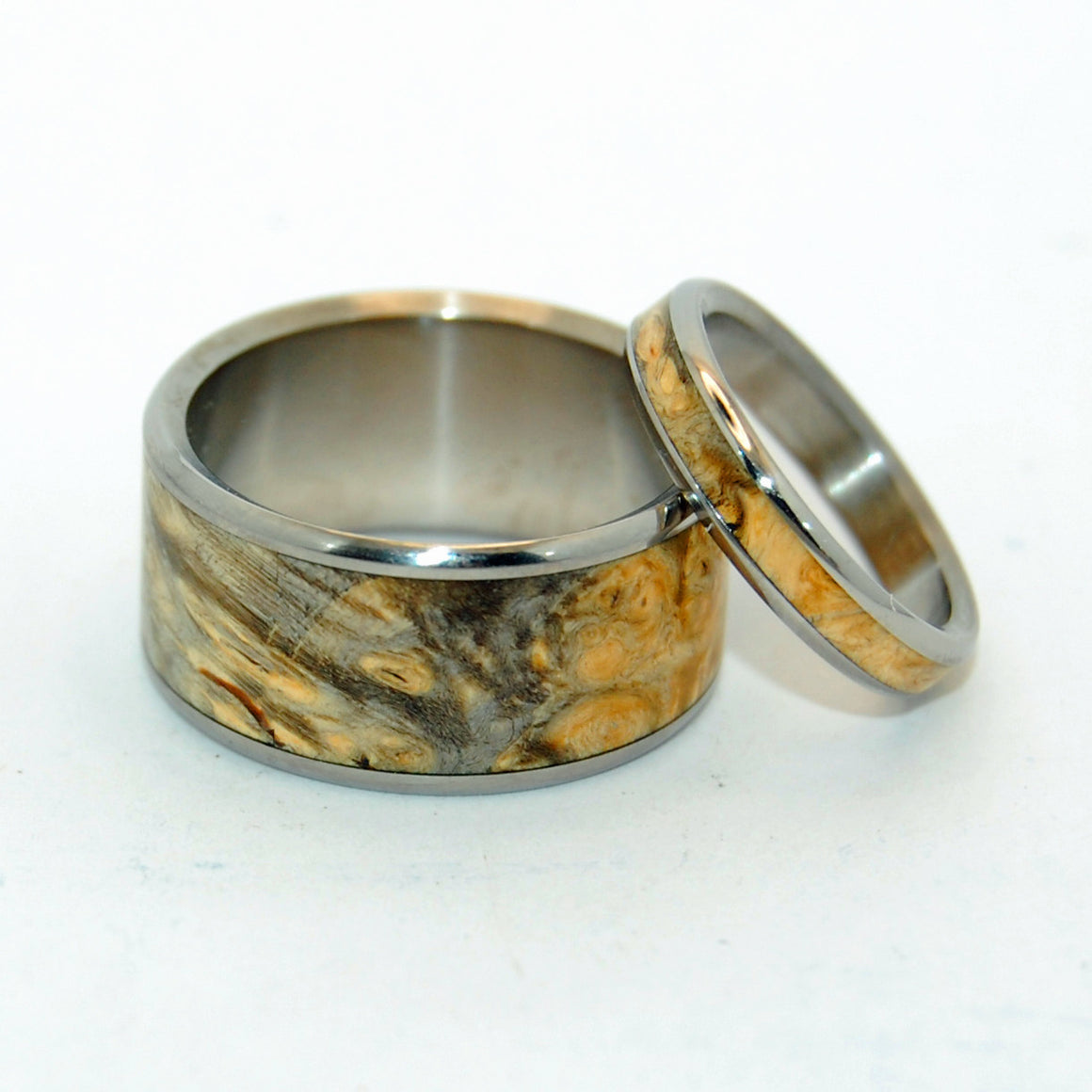 RUNAWAY SET | California Buckeye Wood & Titanium - Unique Wedding Rings - Wedding Rings - Minter and Richter Designs