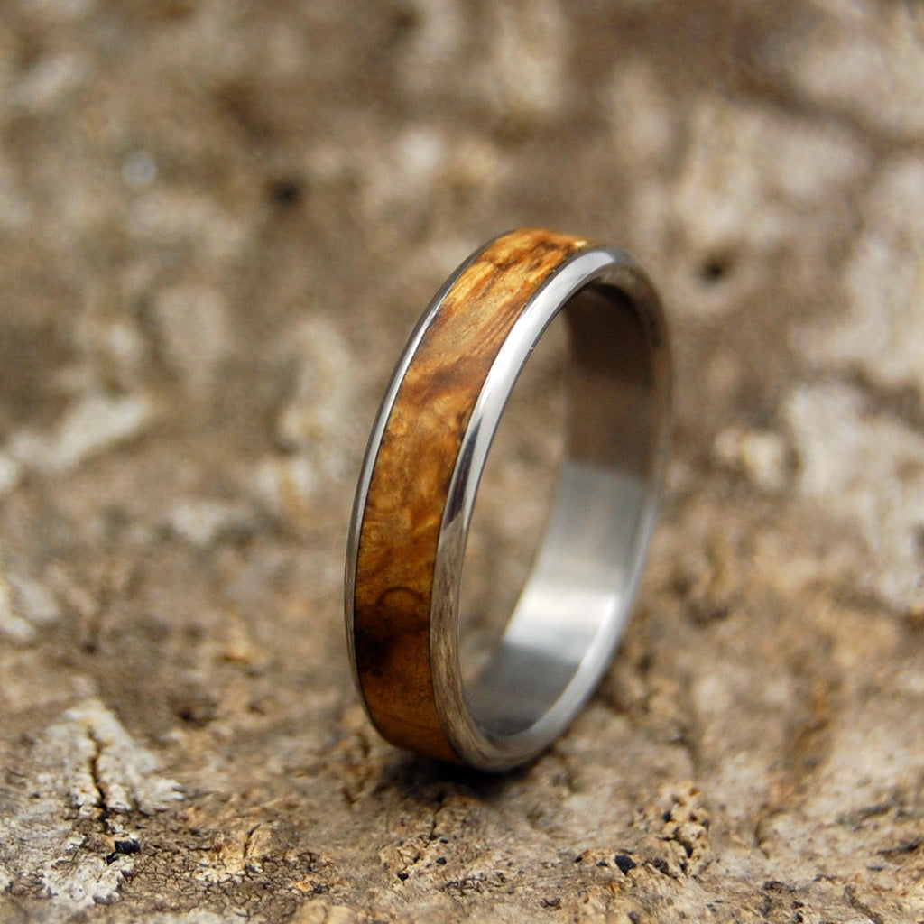 RUNAWAY ROUNDED | California Buckeye Wood Titanium Handcrafted Wedding Rings - Minter and Richter Designs