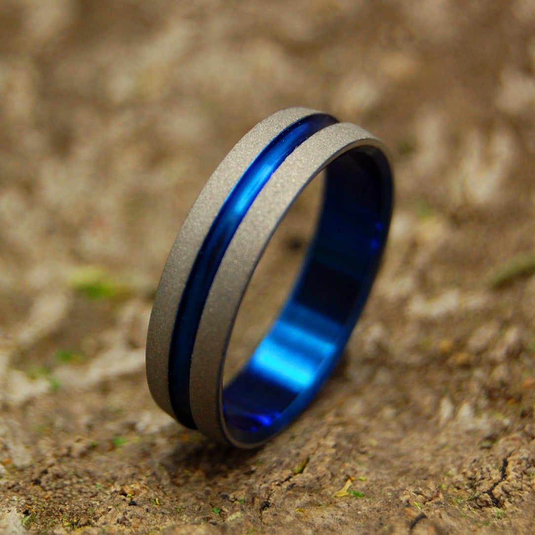 DECKARD - Blue Titanium Wedding Rings - Blade Runner 2049 Series - Minter and Richter Designs