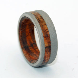 Everything You Need is Here | Koa Wood and Titanium Wedding Ring