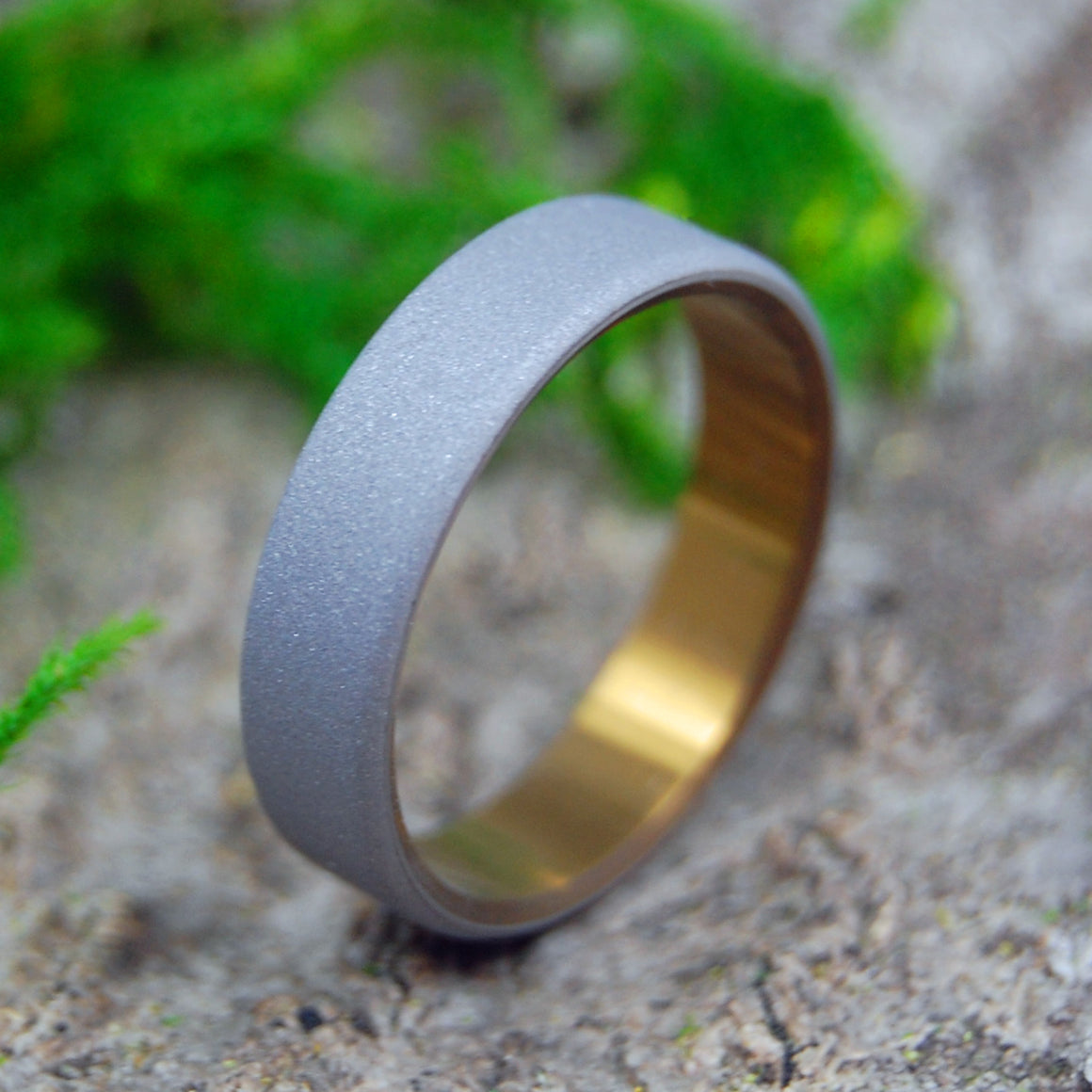 Titanium Wedding Rings | SANDBLASTED ROUNDED BRONZE