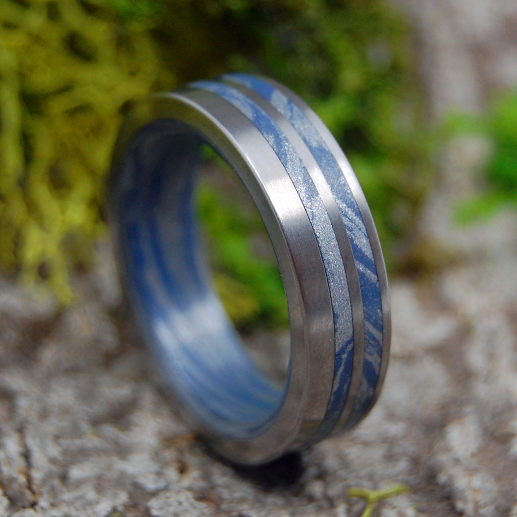 SATIN SON OF ADAM | Blue Silver M3 Mokume Gane Titanium Wedding Rings - Minter and Richter Designs