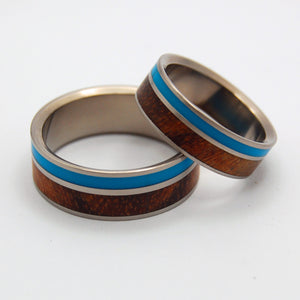 WOODED COVE | Turquoise Resin & Hawaiian Koa - Wooden Matching Titanium Wedding Rings Set - Minter and Richter Designs
