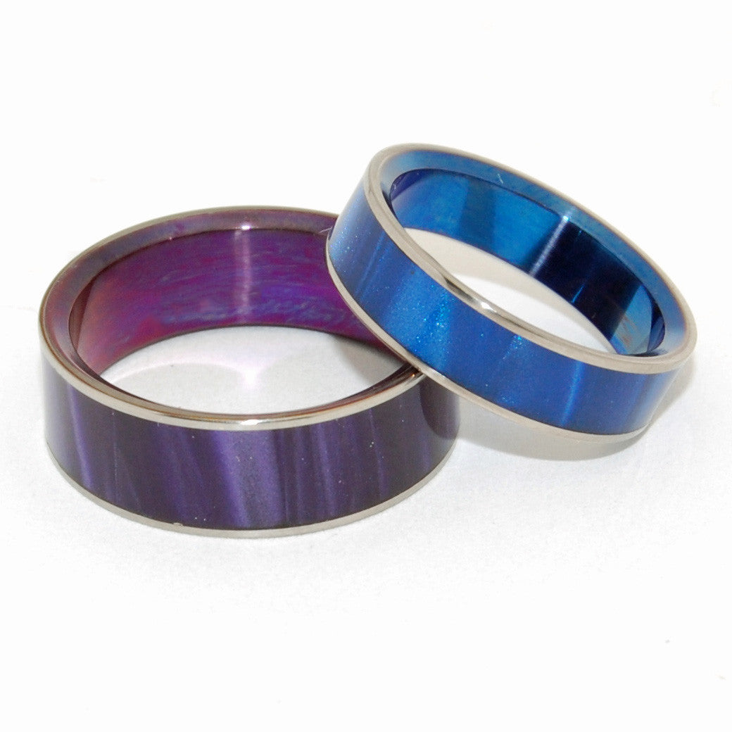 SEA BED BEAUTY | Purple Opalescent & Blue Marbled Opalescent Resin - Titanium Wedding Rings set - Minter and Richter Designs