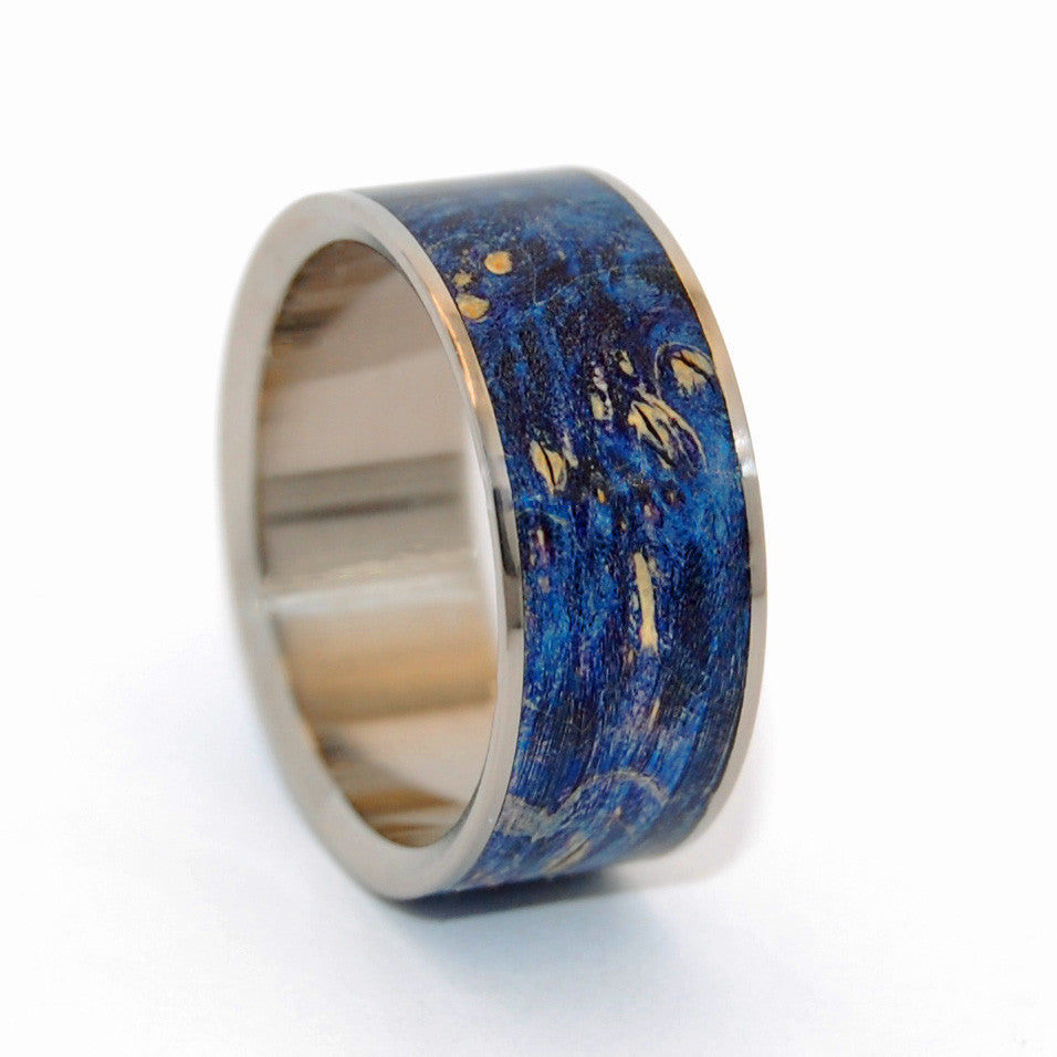SHOOTING STARS | Blue Box Elder Wooden Wedding Rings - Unique Wedding Rings - Minter and Richter Designs