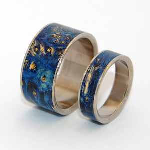 SHOOTING STARS | Blue Purple Box Elder - Wooden Wedding Rings Set - Minter and Richter Designs
