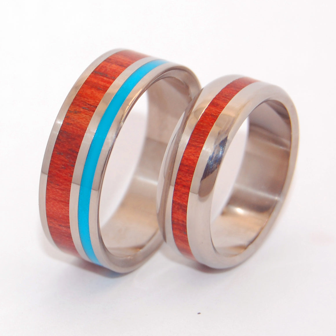 Shore Up My Heart With Your Heart | Wood Wedding Ring Set