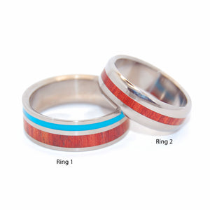 SHORE UP MY HEART | Blood Wood & Turquoise Resin Wedding Rings Set - Minter and Richter Designs