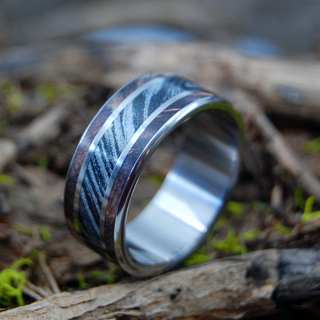 MAPLE SILVER LINING | Dark Maple Wood & Black Silver M3 Mokume Gane - Wooden Wedding Rings - Minter and Richter Designs