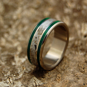 SO HOT IT HISSES | Meteorite & Imperial Jade Titanium Men's Wedding Rings - Minter and Richter Designs