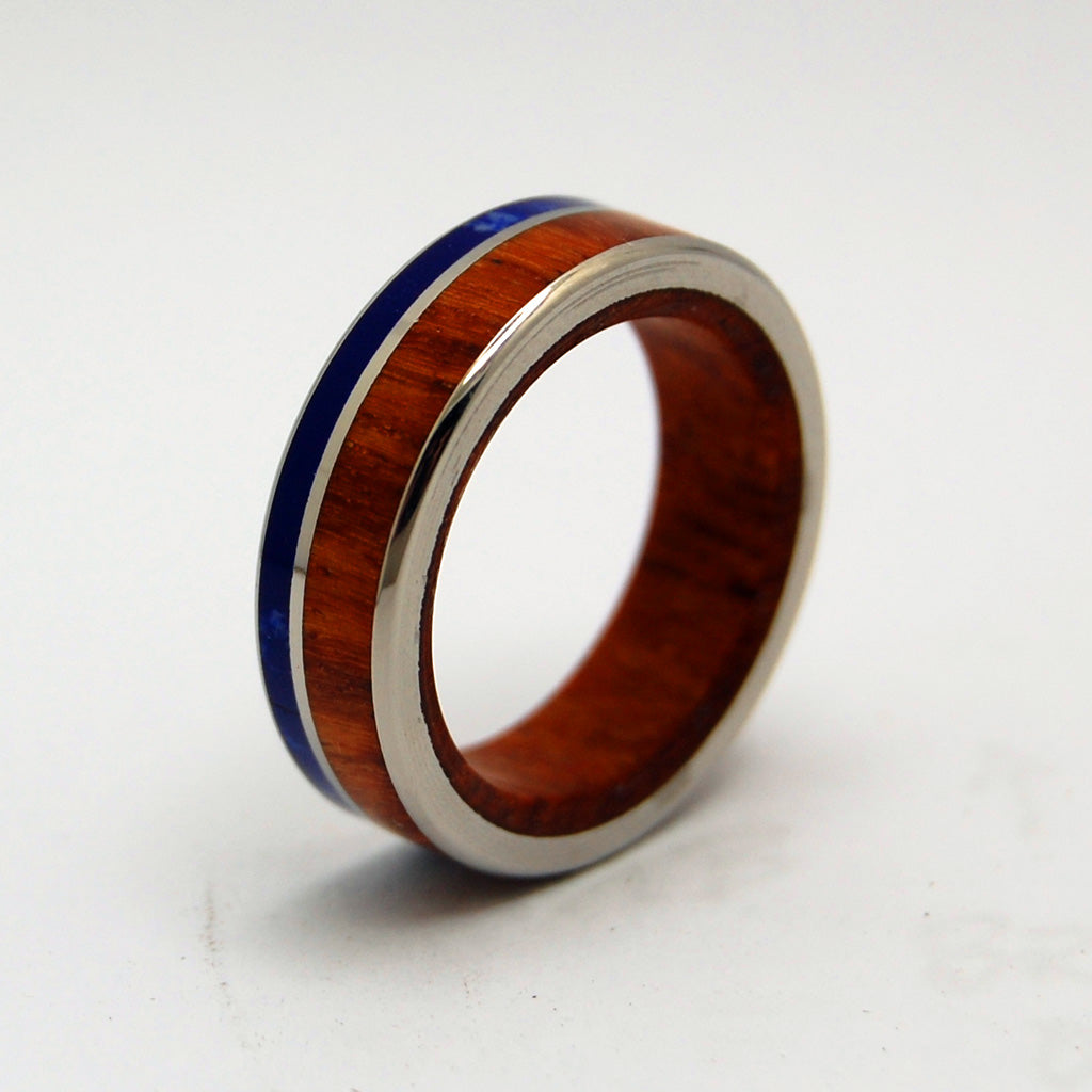 TWILIGHT | Amboyna Burl Wood & Sodalite Stone Unique Wedding Rings - Minter and Richter Designs