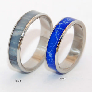 In the Space Below the Fog Where Blue Stars Shine | Titanium Wedding Ring Set