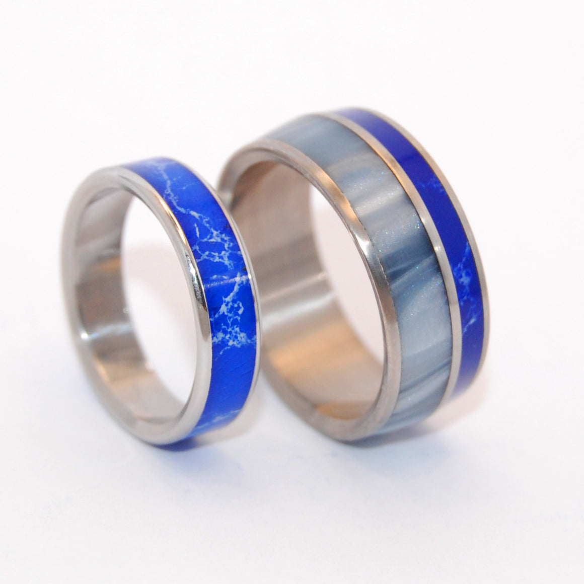 We'll Always Be Where Blue Stars Shine | Stone and Titanium Wedding Ring Set