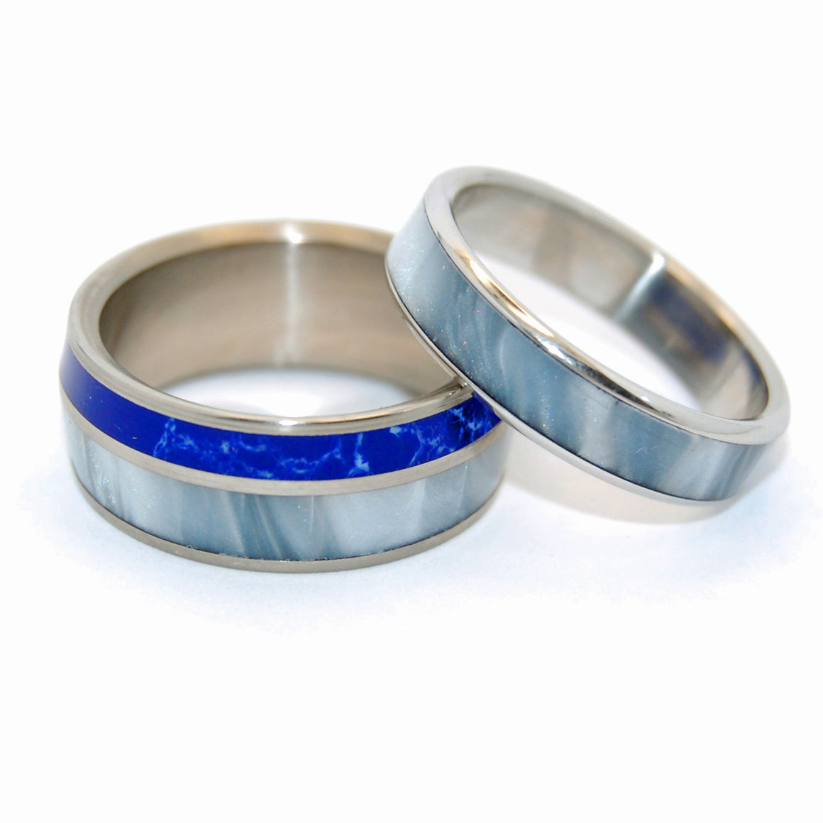 We'll Always Be in the Beautiful Space Below the Fog | His and Hers Titanium Wedding Ring Set - Minter and Richter Designs