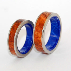 BLUE CONIFER | Sodalite Stone & Amboyna Burl Wood - His & Hers Wedding Band Set - Wooden Wedding Rings - Minter and Richter Designs