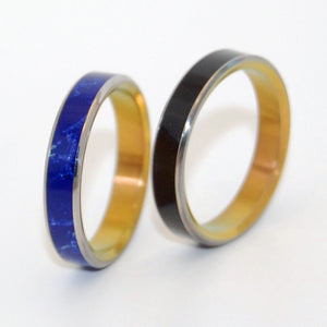 EYES OF STARS | Onyx Stone & Sodalite - Unique Wedding Rings Set - Minter and Richter Designs
