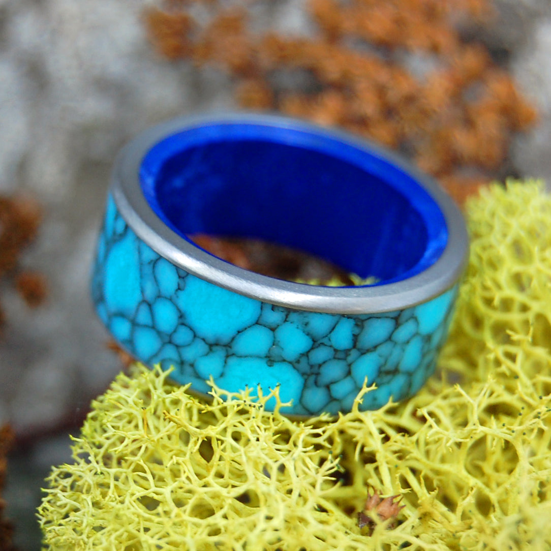 LEVIATHAN | Turquoise & Sodalite Stone Wedding Ring - Blue Wedding Rings - Minter and Richter Designs