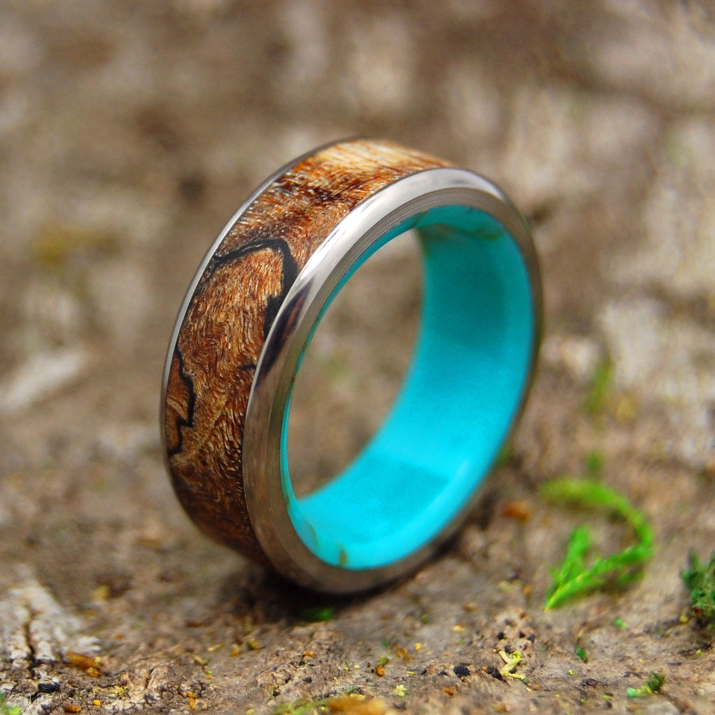 Mens Ring - Titanium Wood and Stone Wedding Band | SPALTED MAPLE CONIFER