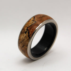 Men's Titanium Wedding Ring - Wood and Stone Wedding Ring | VICTORY ENSURED
