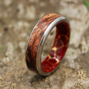 SPALTED AND GOLD | Spalted Maple & Red Jasper Stone Titanium Wedding Rings - Minter and Richter Designs