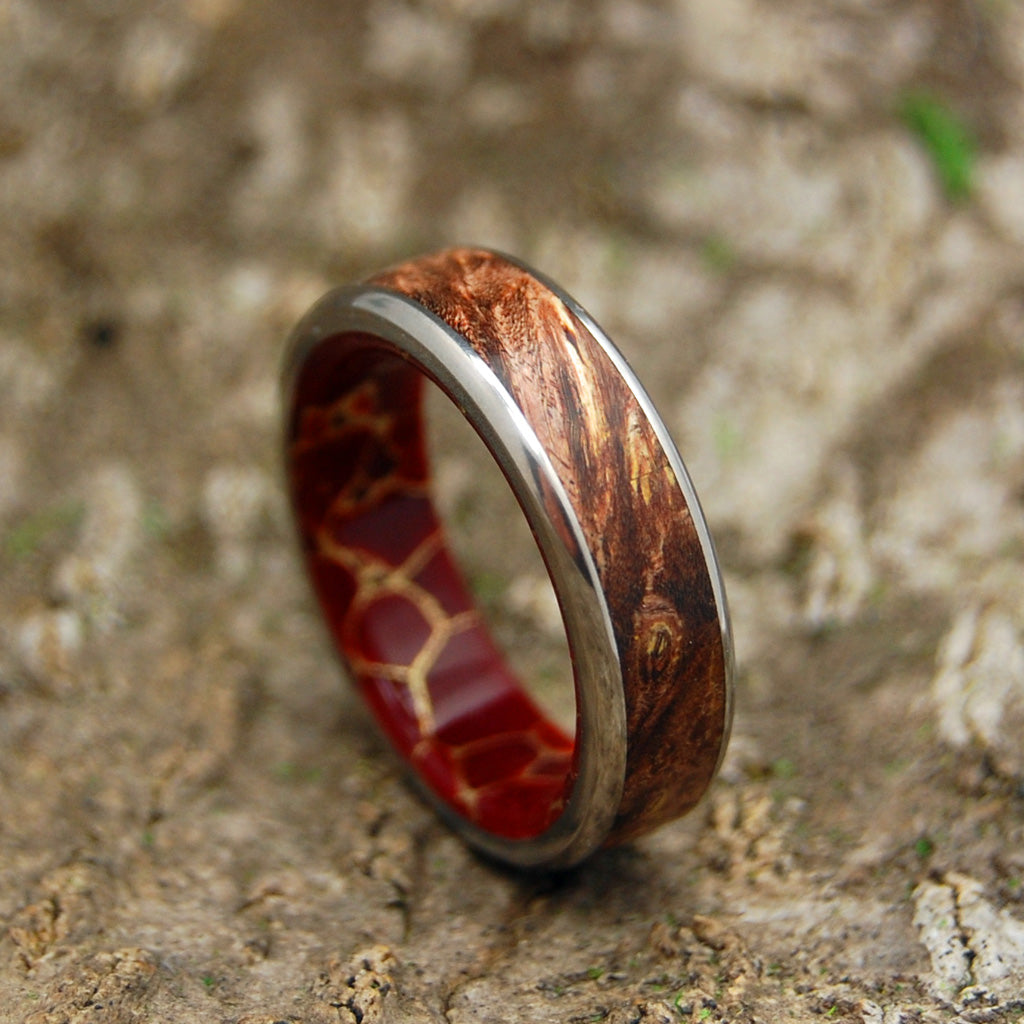 Spalted and Gold | Titanium Wood and Stone Wedding Band
