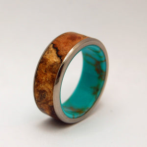 Spalted Maple Conifer | Titanium Wood and Stone Wedding Band