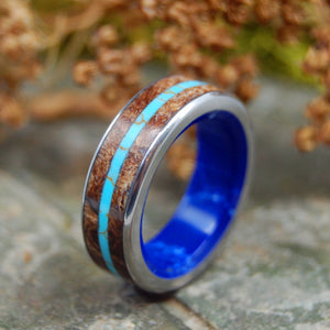 Mens Wedding Ring - Titanium Turquoise Ring | ETERNITY IS HERE
