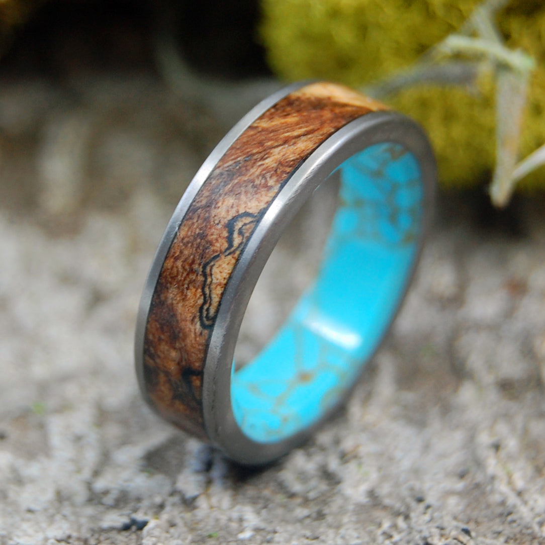 FLAT CONIFER | Titanium, Wood and Turquoise Wedding Bands - Minter and Richter Designs