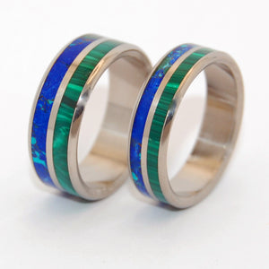 CAN'T HOLD US BACK | Malachite Stone, Azurite Stone & Titanium - Unique Wedding Rings - Wedding Rings Set - Minter and Richter Designs