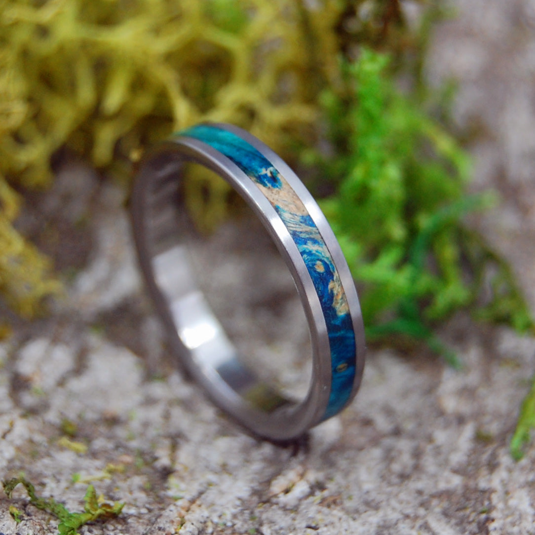 STARRY STARRY NIGHT | Titanium & Blue Box Elder Wooden Wedding Rings - Minter and Richter Designs