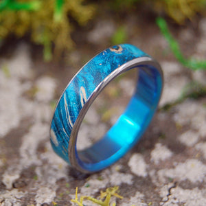 STARRY STARRY NIGHT TURQUOISE | Blue Wood & Titanium Wedding Rings - Minter and Richter Designs