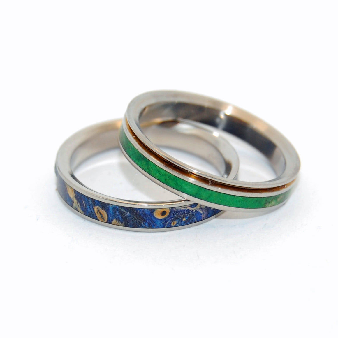 STARS & MOSS | Green Box Elder Wood & Blue Box Elder Wood - Titanium Wedding Rings - Unique Wedding Rings - Minter and Richter Designs