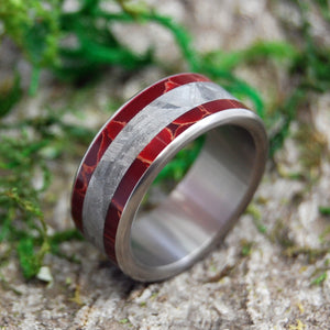 STELLAR FIRES | Meteorite & Red Jasper Stone Titanium Wedding Rings - Minter and Richter Designs