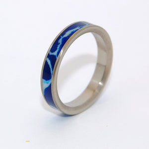 STEP CAREFULLY | Cobalt Stone & Titanium - Unique Wedding Rings - Women's Wedding Rings - Minter and Richter Designs