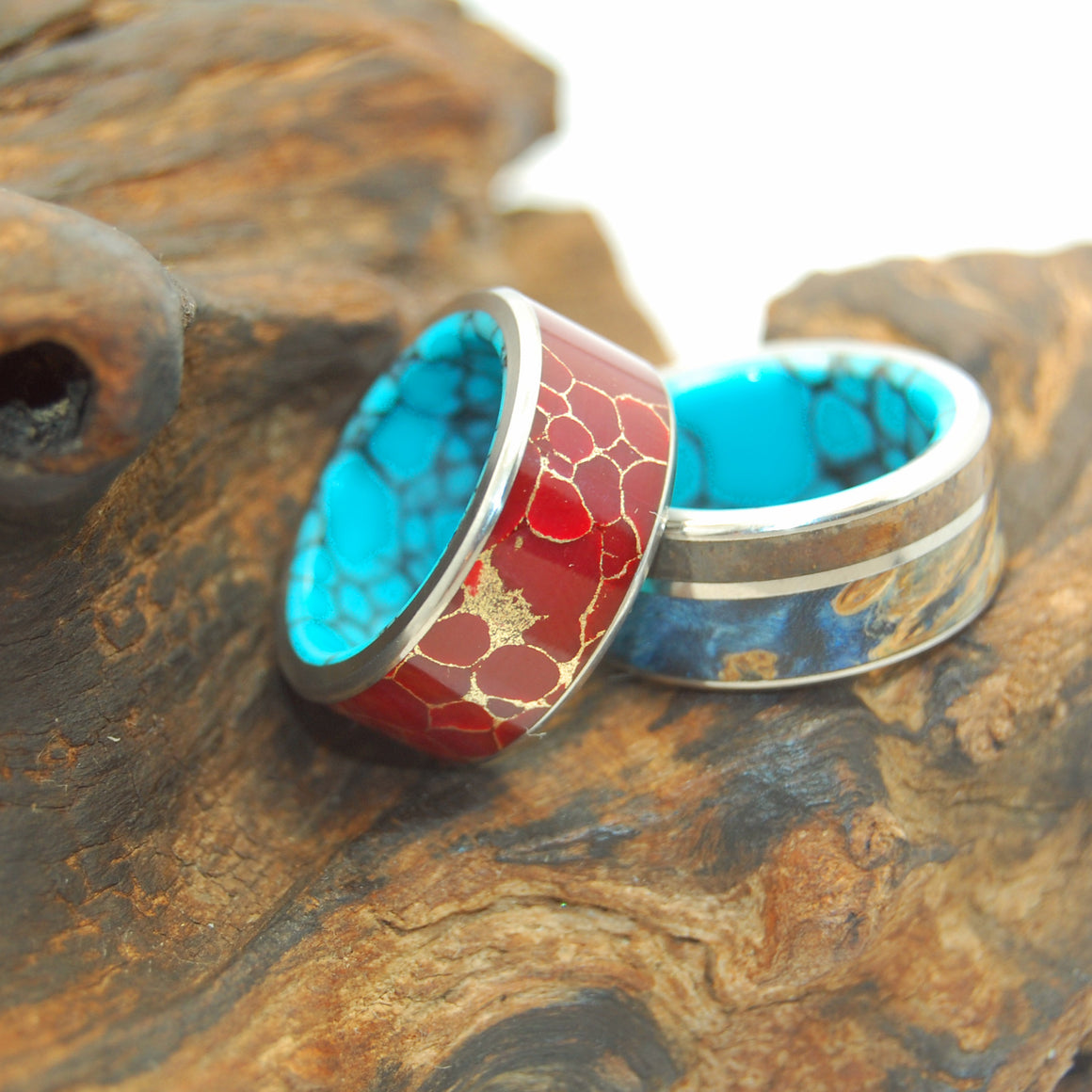 BOLD SET | Blue Box Elder Wood, Red Jasper Stone, Turquoise - Titanium Wedding Rings set - Minter and Richter Designs